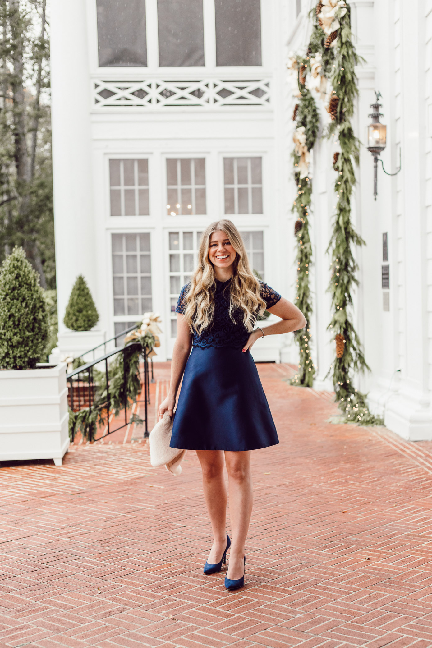 Finding the Perfect Holiday Party Dress with Rent the Runway on Louella Reese Blog | Navy Lace Mini Dress, Christmas Party Dress
