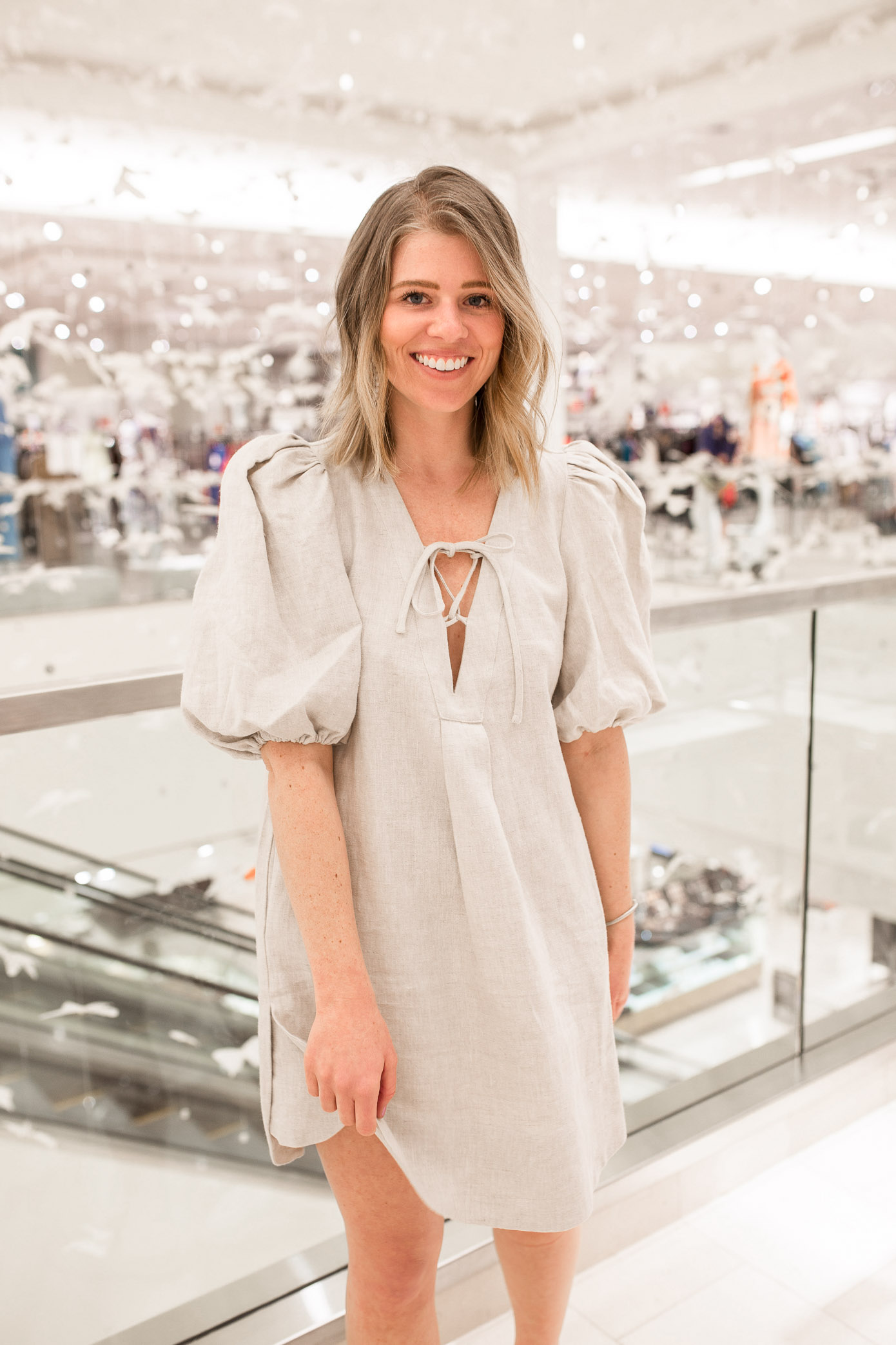 Neutral Linen Dress for Spring featured on Louella Reese Life & Style Blog