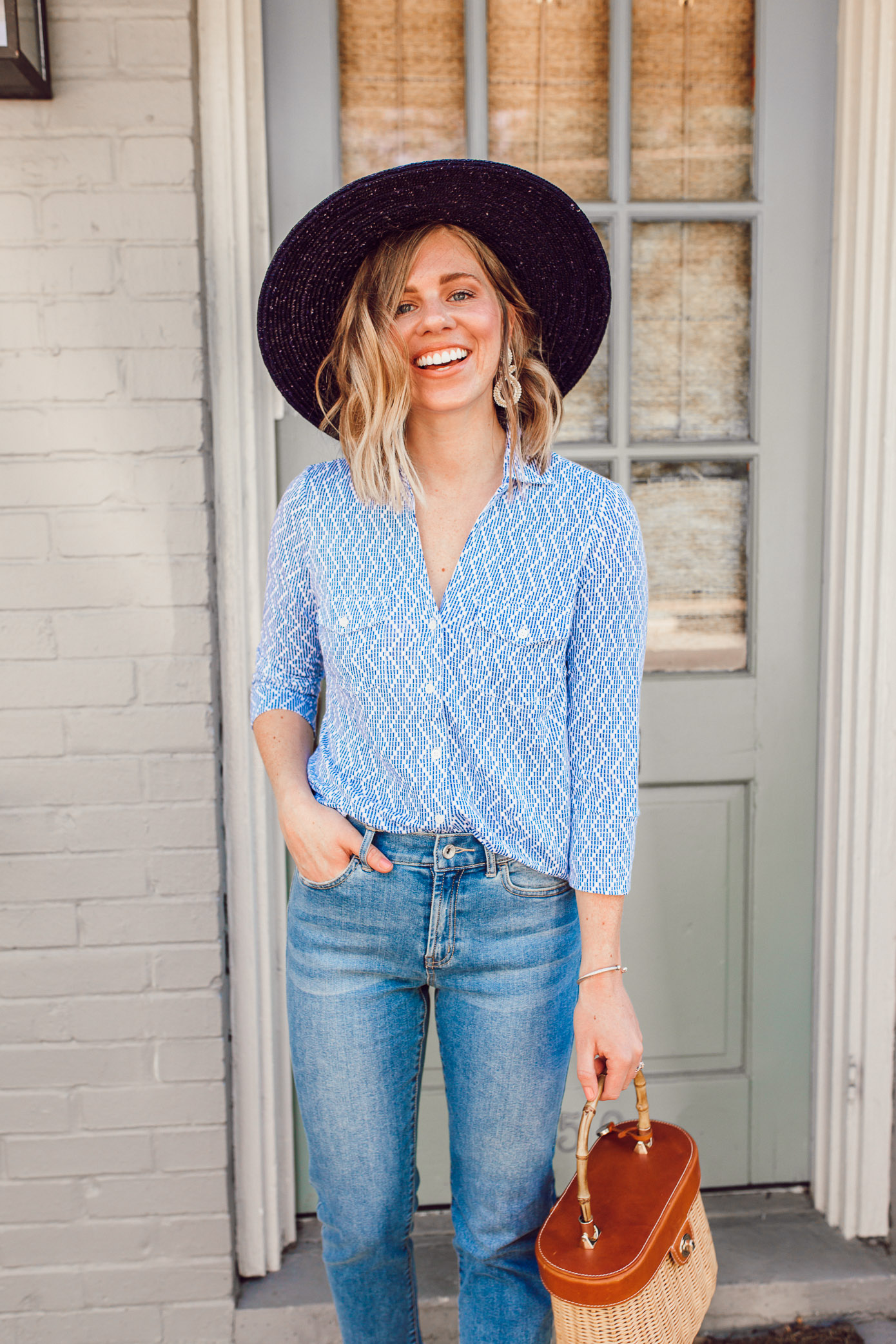 Blue and white outfit ideas to get you in the mood for spring   ft. J.McLaughlin, Brixton   Louella Reese
