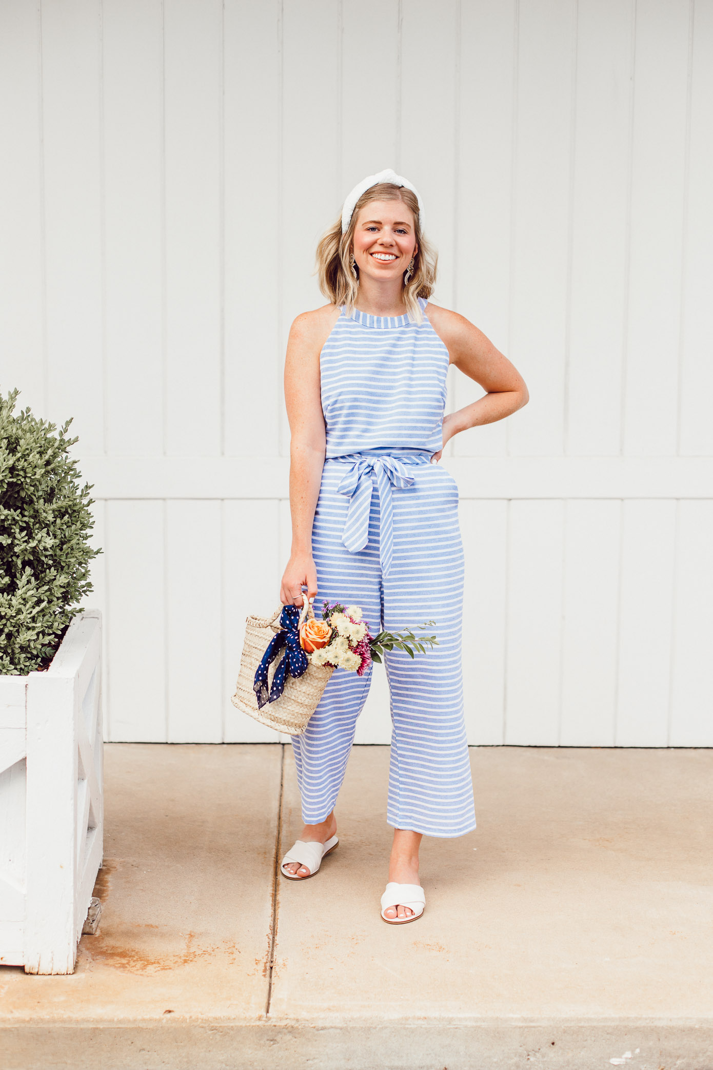 Louella Reese June 2019 Recap | Blue Striped Jumpsuit under $25, White Eyelet Headband, Mini Straw Tote, Tote of Flowers, White Slide Sandals | Louella Reese
