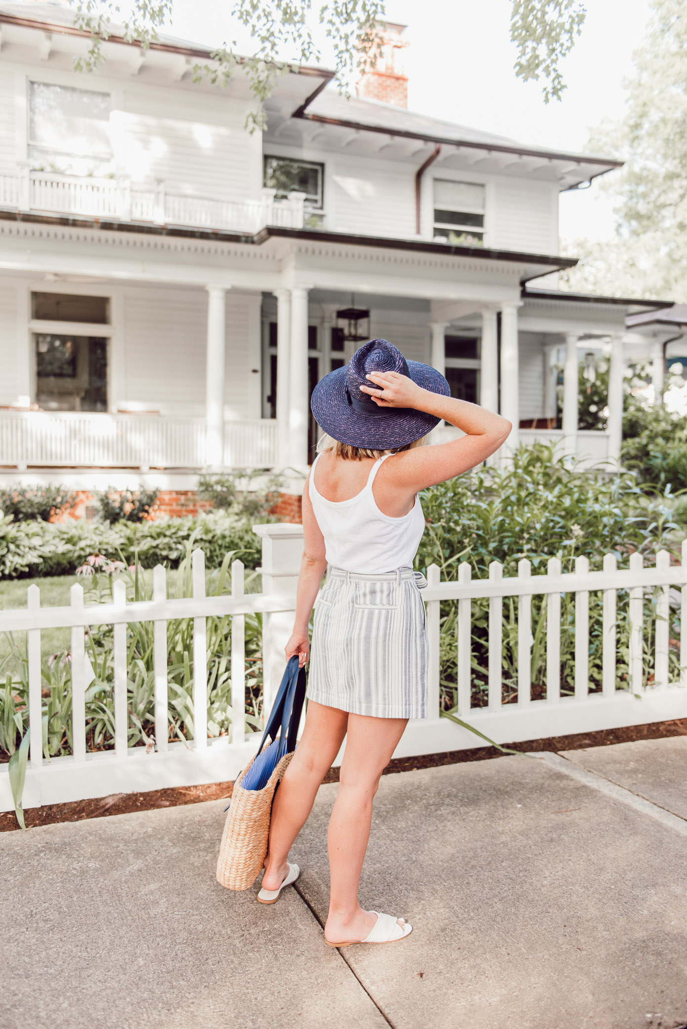 Blue and White Summer Outfit Idea, Large Straw Shopper Tote   Ft. Everlane, Sanctuary, Joules, Brixton   Louella Reese
