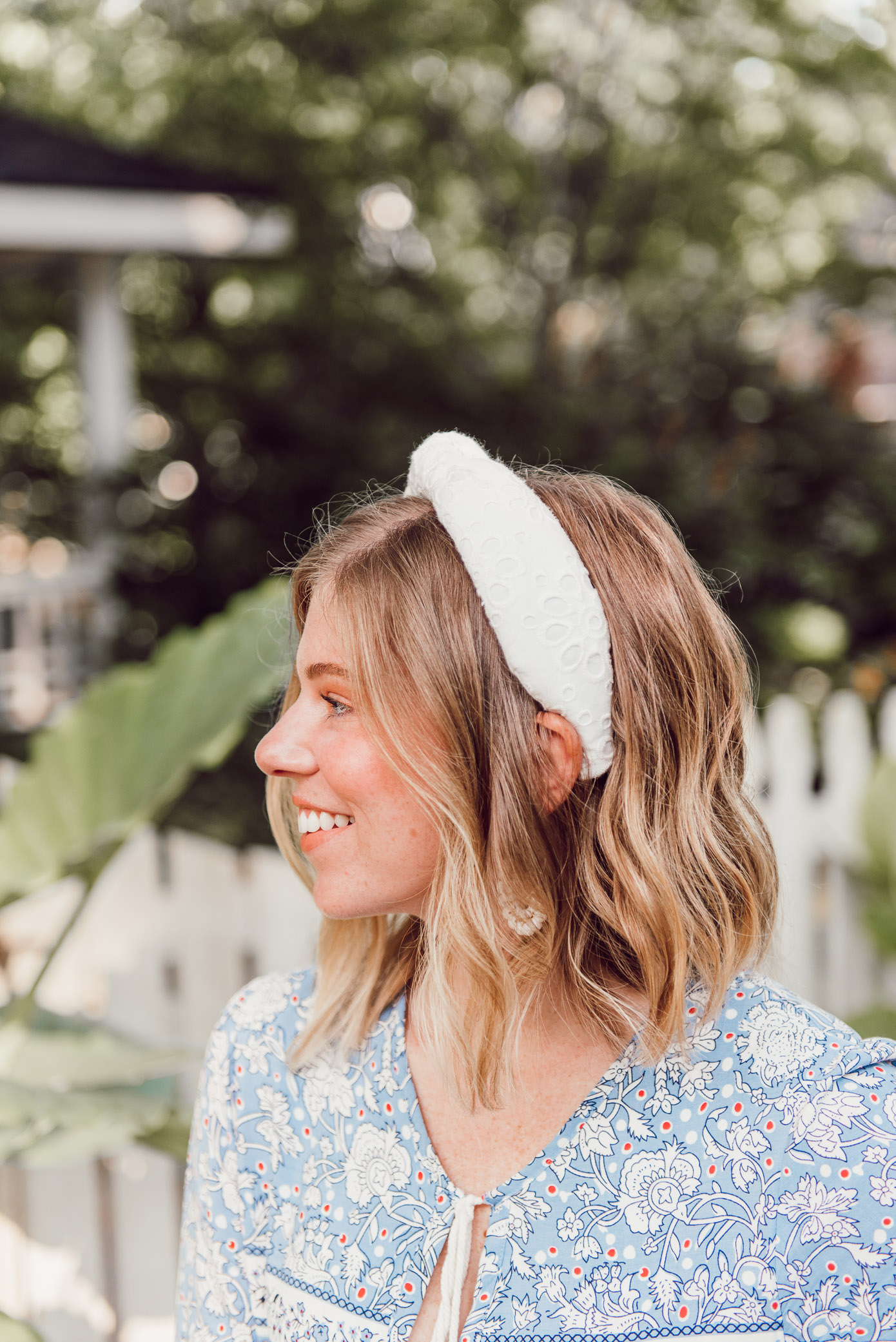 White Eyelet Headband, How to Style Lele Sadoughi Headbands | Louella Reese