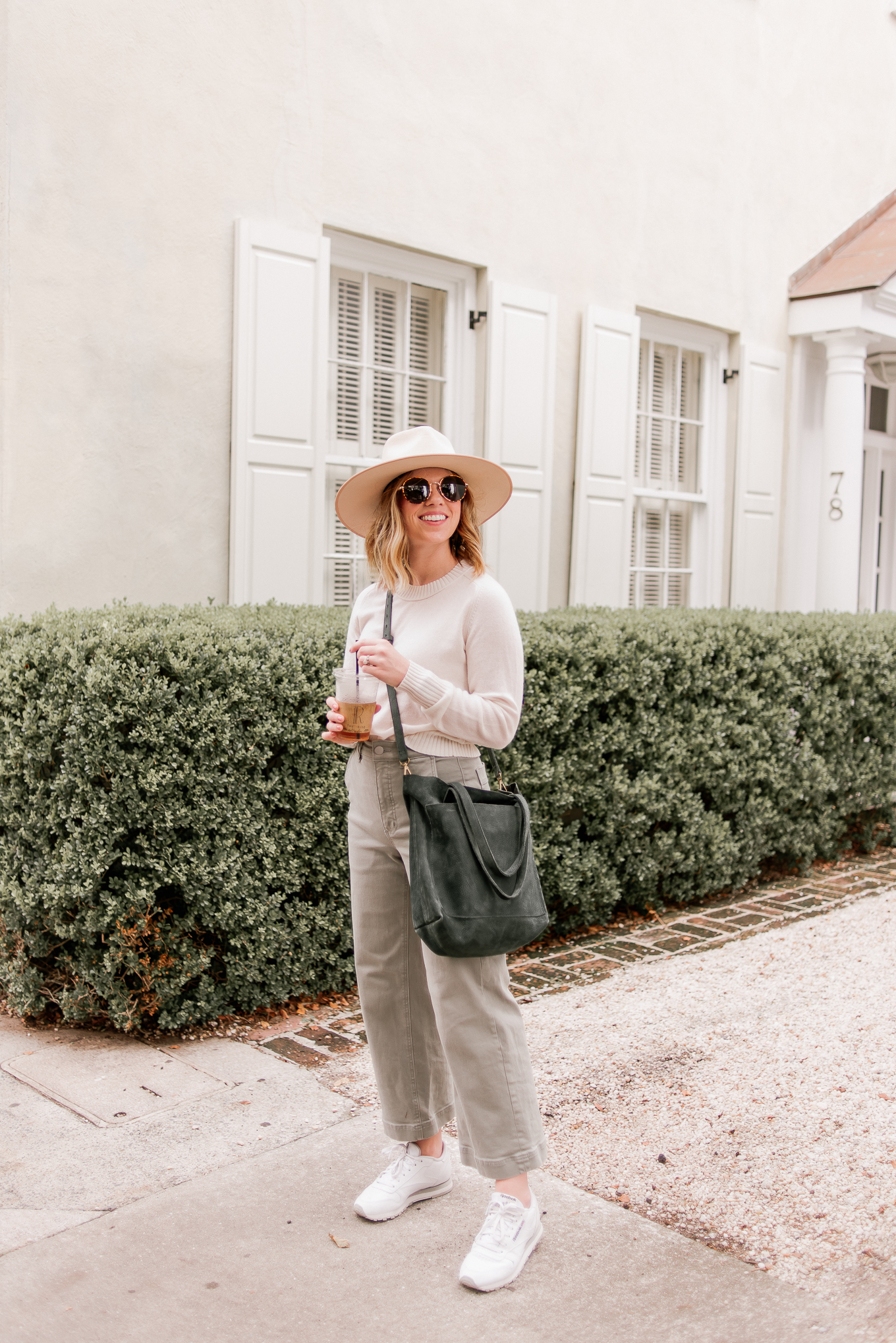 What to Wear in Charleston in the Fall | $100 Cashmere Sweater, Wide Leg Crop Pants, Ivory Wool Hat, White Leather Sneakers Louella Reese
