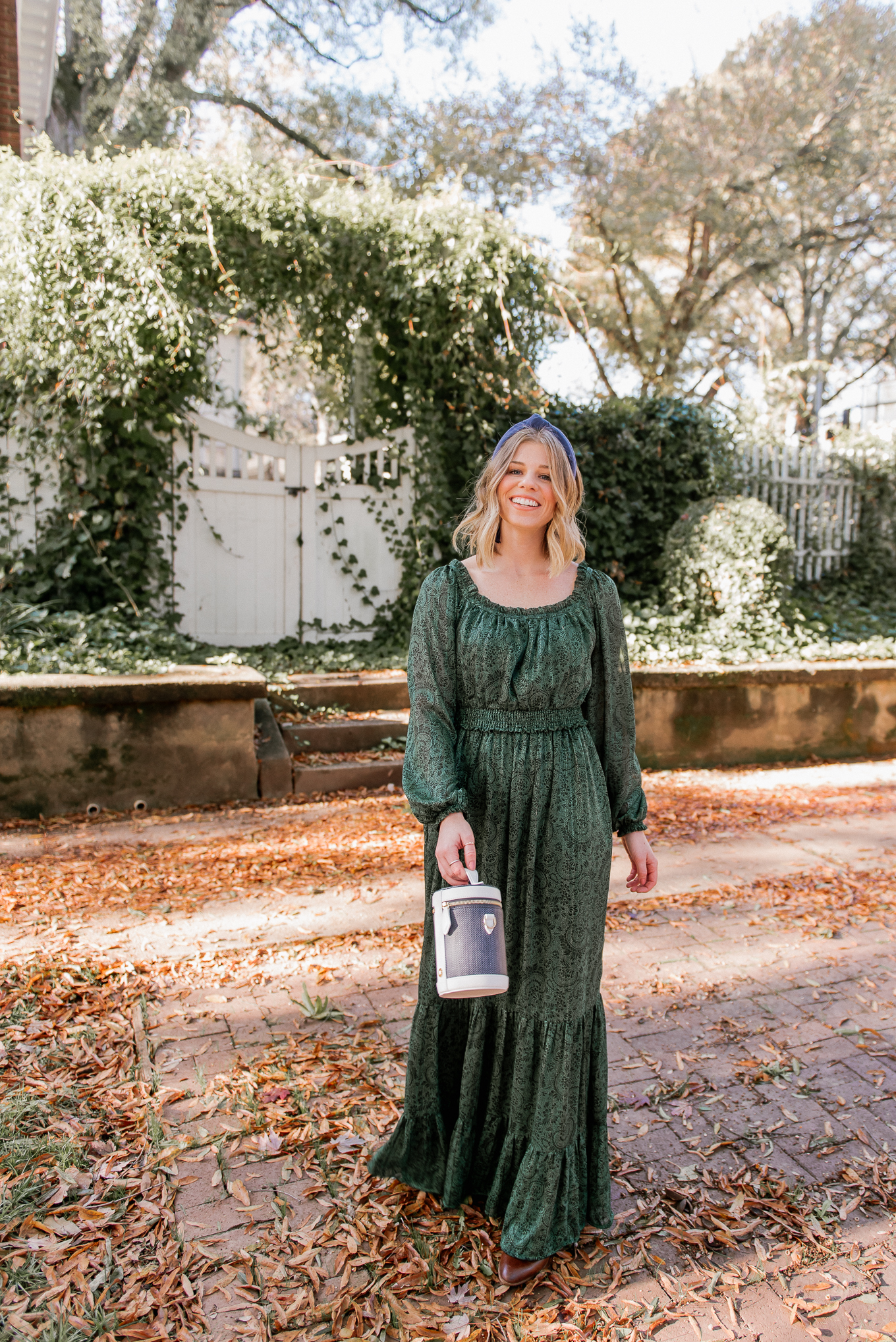 How to Style a Holiday Dress in a Fresh Way | Green Winter Maxi Dress | Feminine Holiday Dresses | Louella Reese