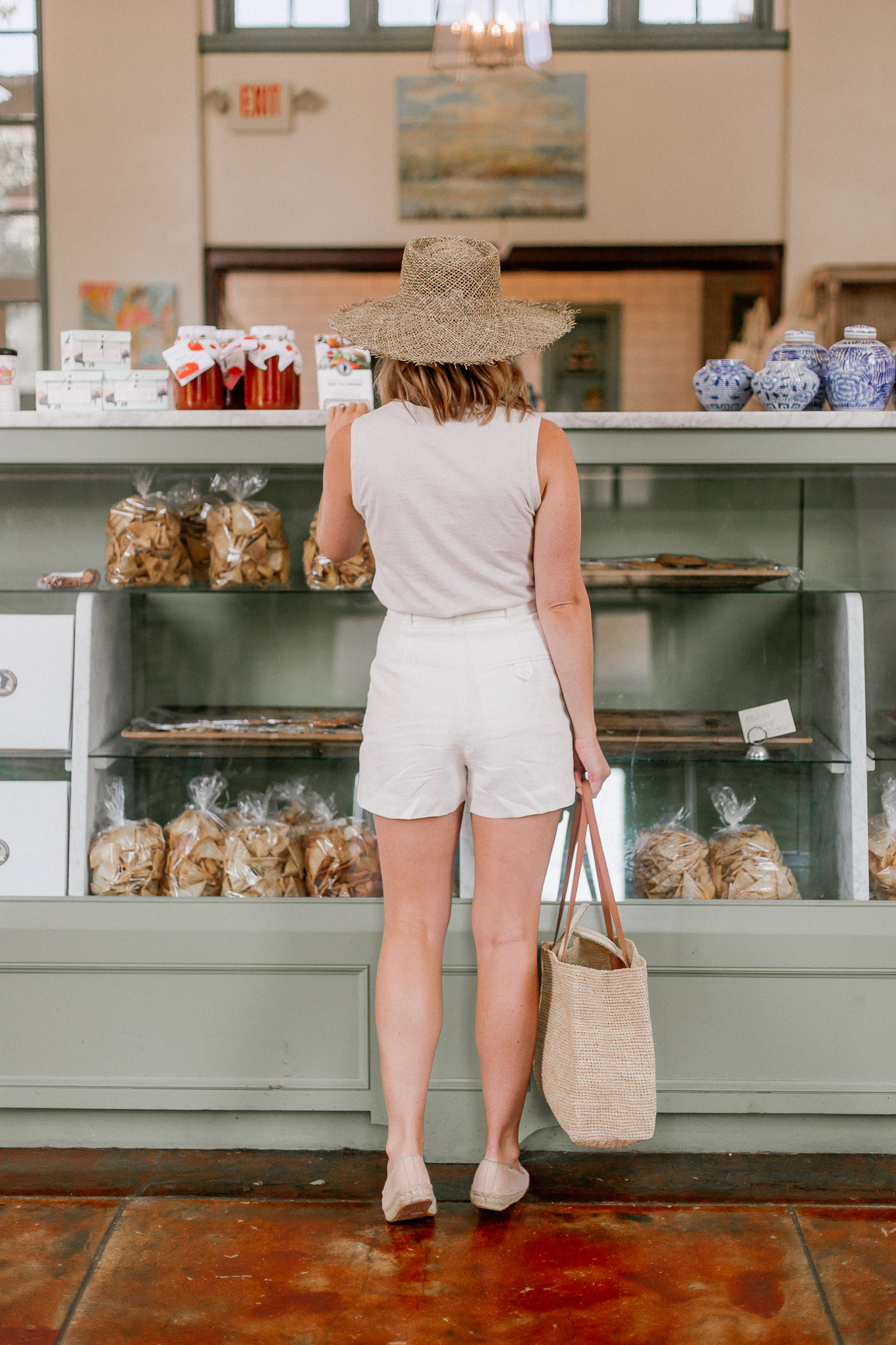 Neutral Summer Style: Neutral Tank, White Linen Shorts, Nude Espadrille Flats | Louella Reese