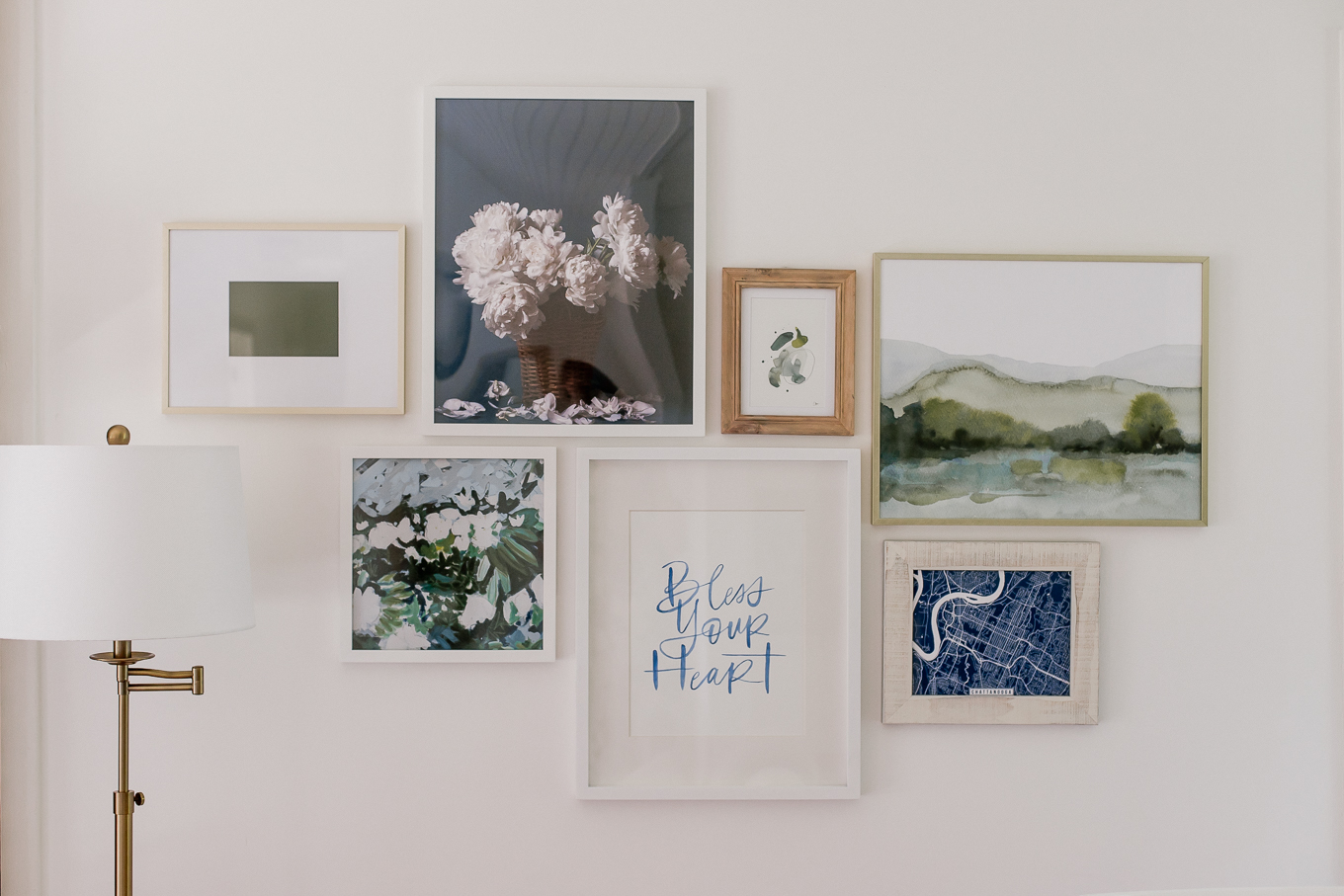 Blue, White and Green Gallery Wall | Louella Reese