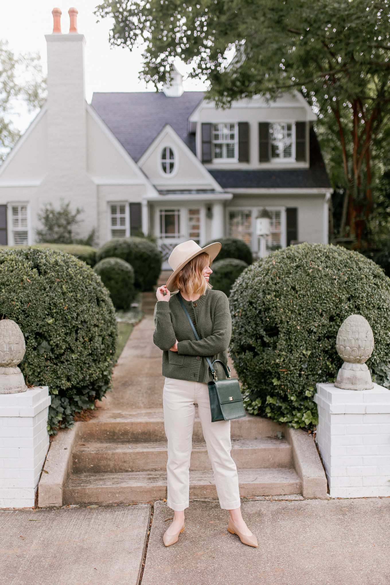 Green Cardigan Sweater, Ivory Wool Hat | Casual Fall Outfit | Louella Reese