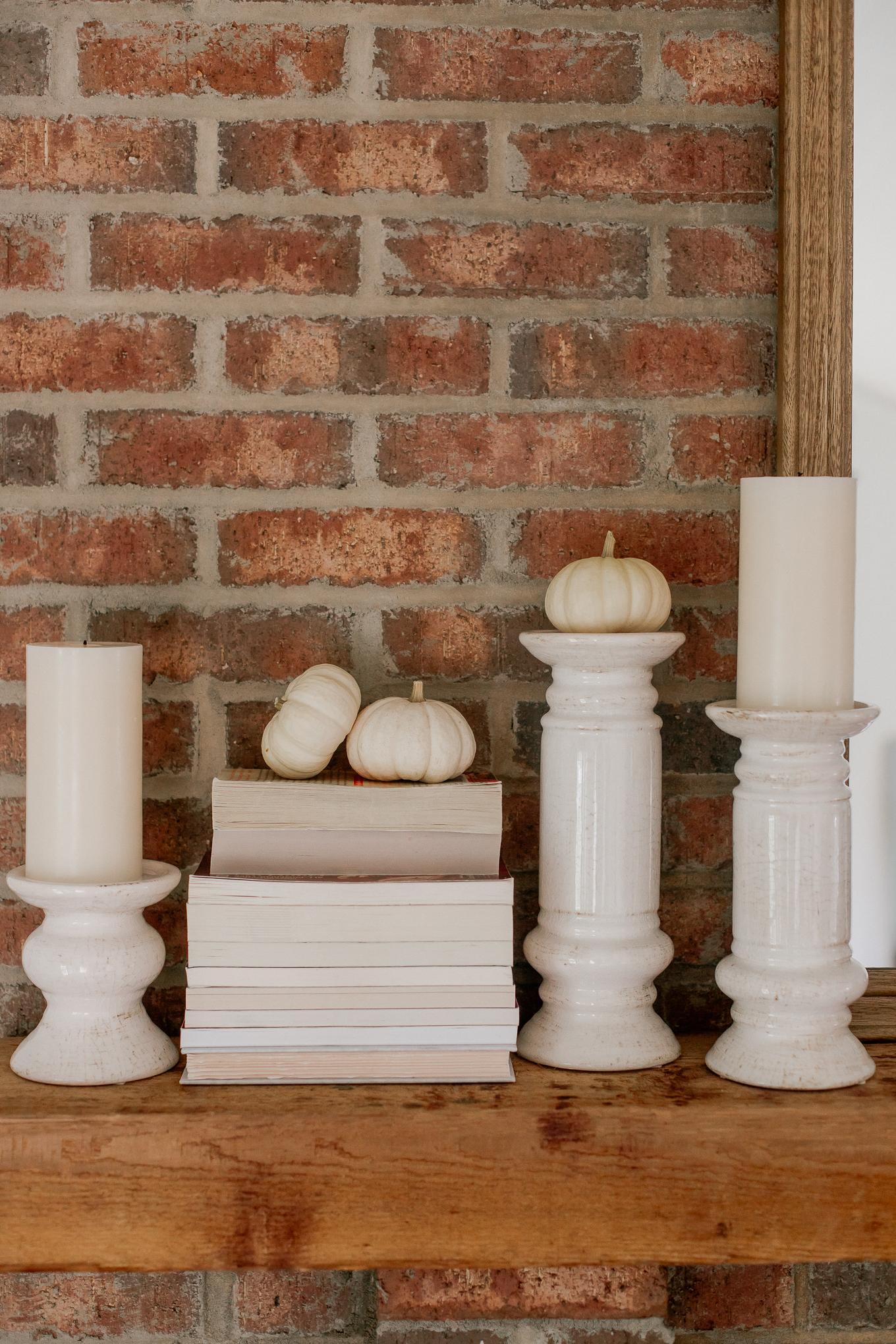 Mantle Candlesticks, Mini Pumpkins | Louella Reese