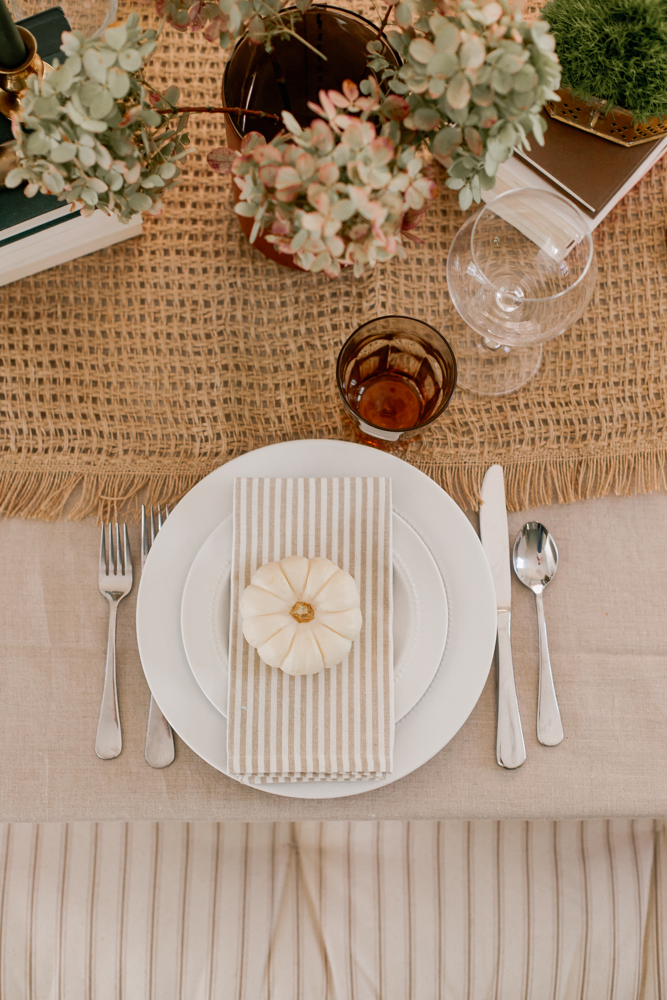 Natural Fall Tablescape Place Setting, Setting a Table with Pumpkins | Louella Reese