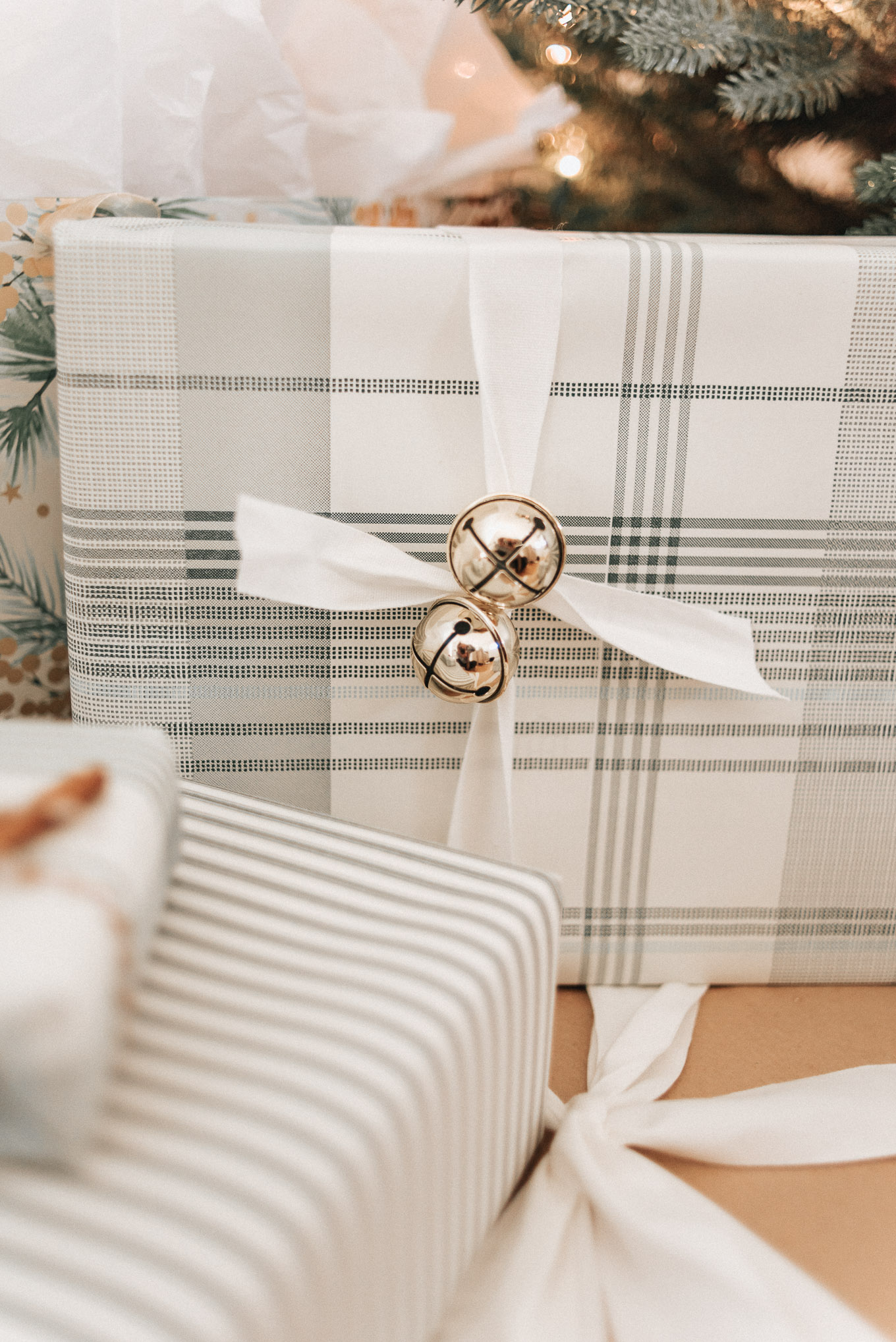 Plaid Wrapping Paper, Gold Bells | Charming | Louella Reese