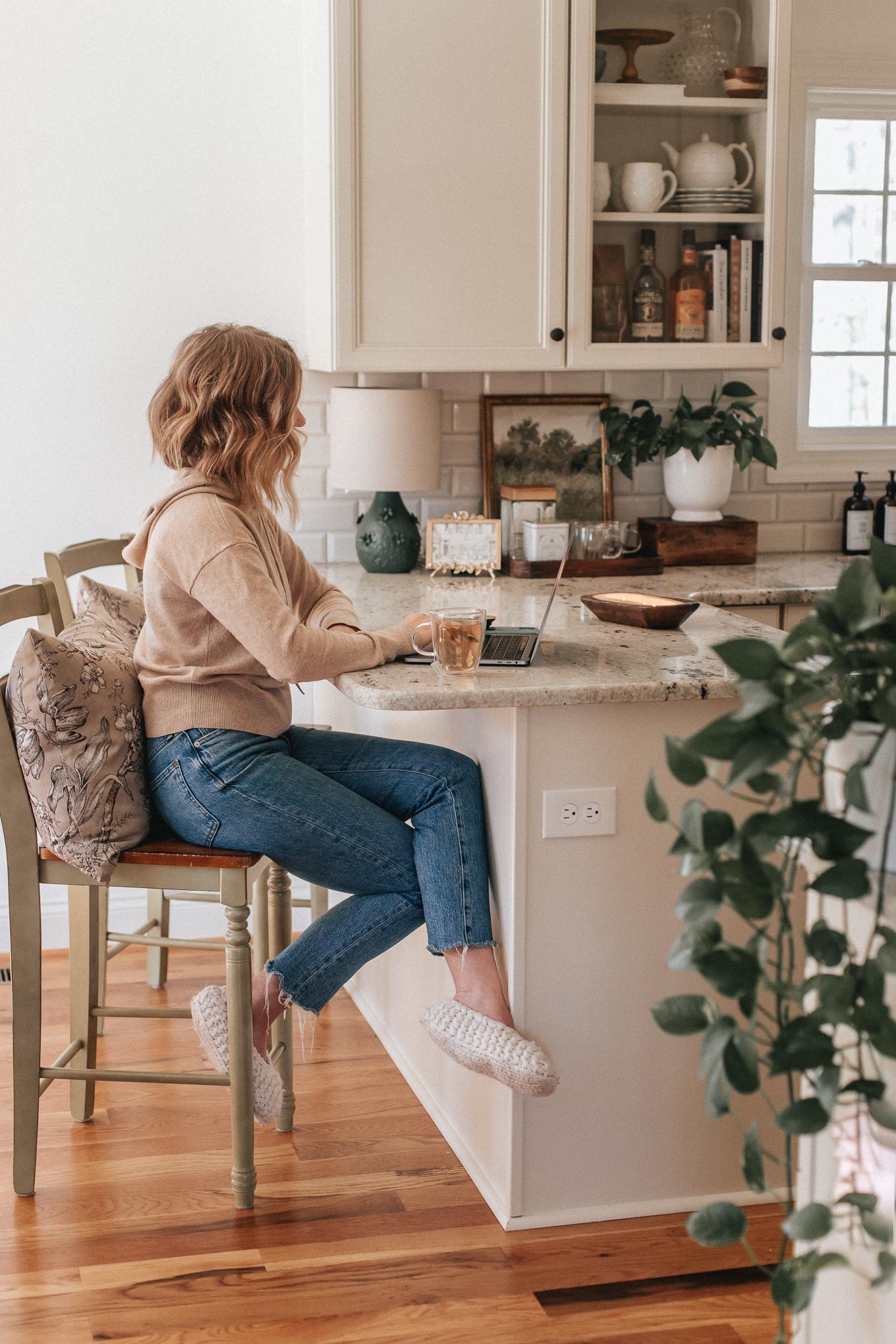 Cozy Neutral Kitchen | Countertop Tea Bar | Louella Reese