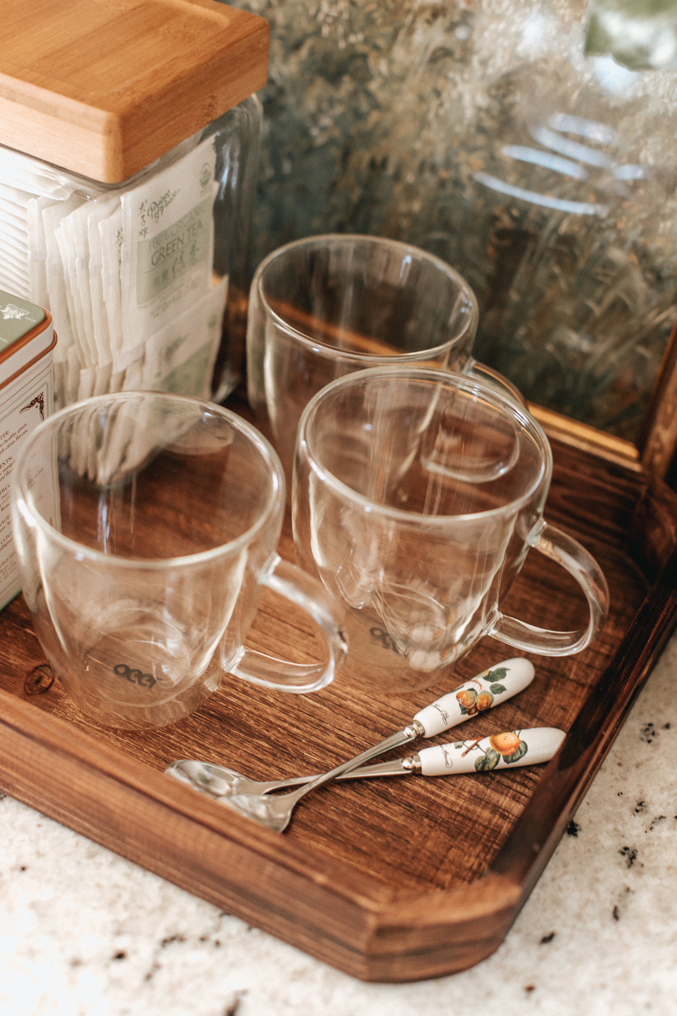 Countertop Tea Bar | Clear Glass Coffee Mugs | Louella Reese