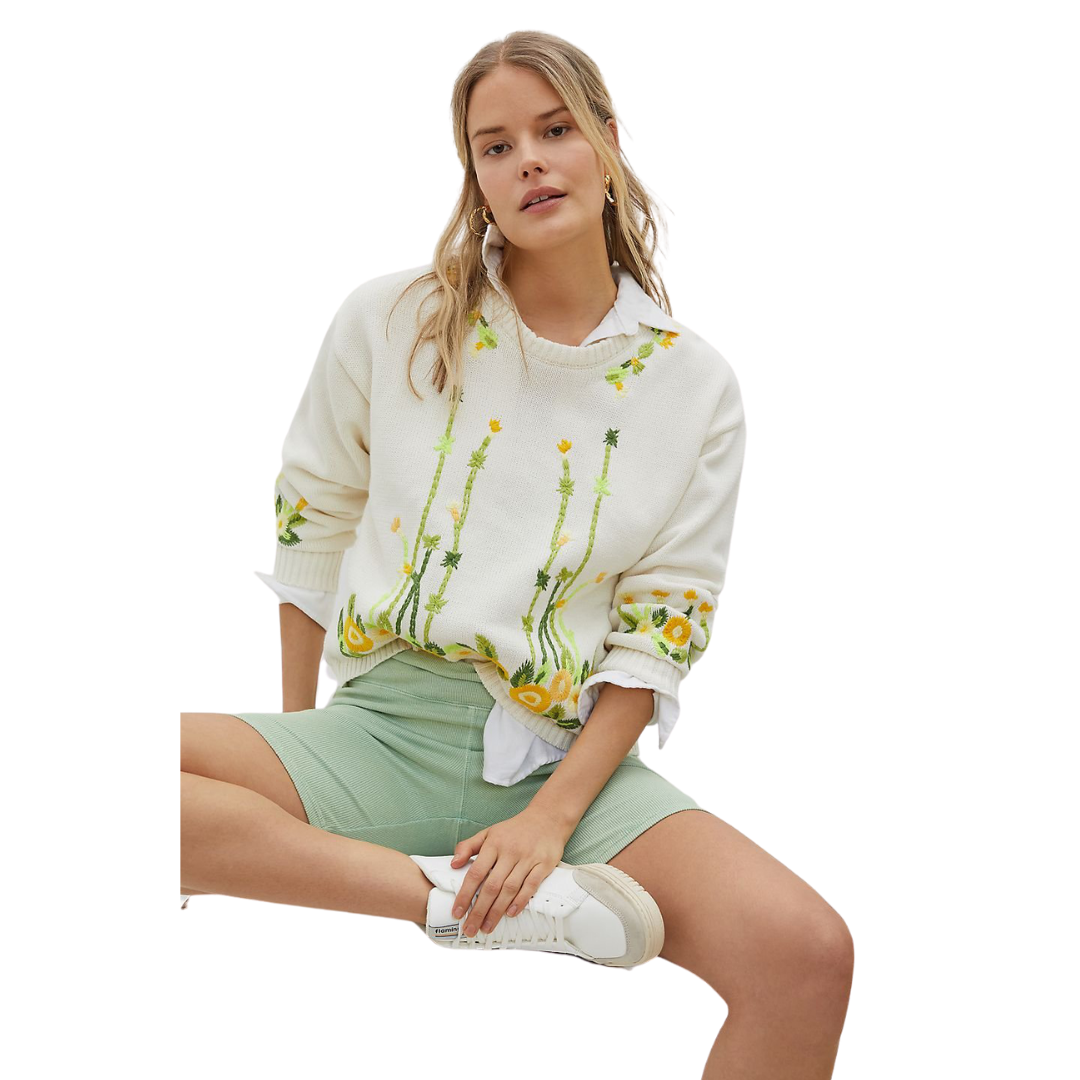 embroidered floral sweater for spring, lifestyle | Louella Reese