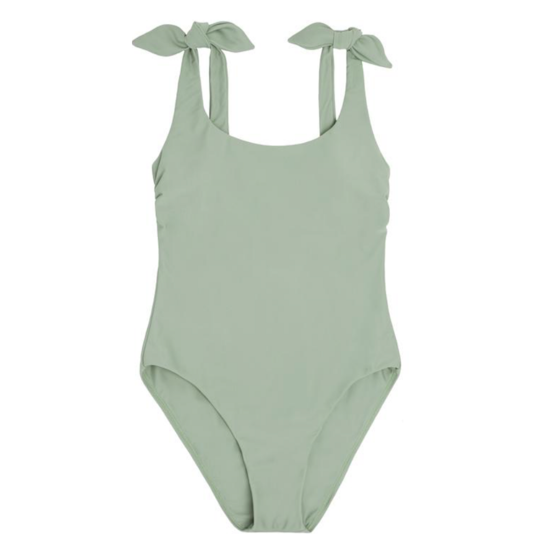 sage green one piece swimsuit, Friday five, lifestyle | Louella Reese
