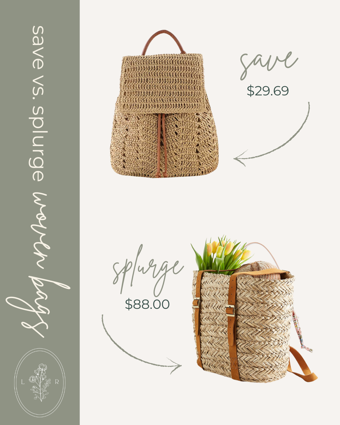 Save vs. Splurge Spring Woven Bags, Straw Backpack | Louella Reese