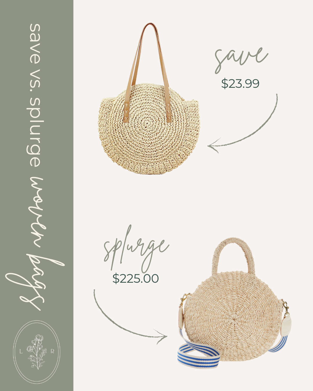 Save vs. Splurge Spring Woven Bags, Round Straw Bag | Louella Reese
