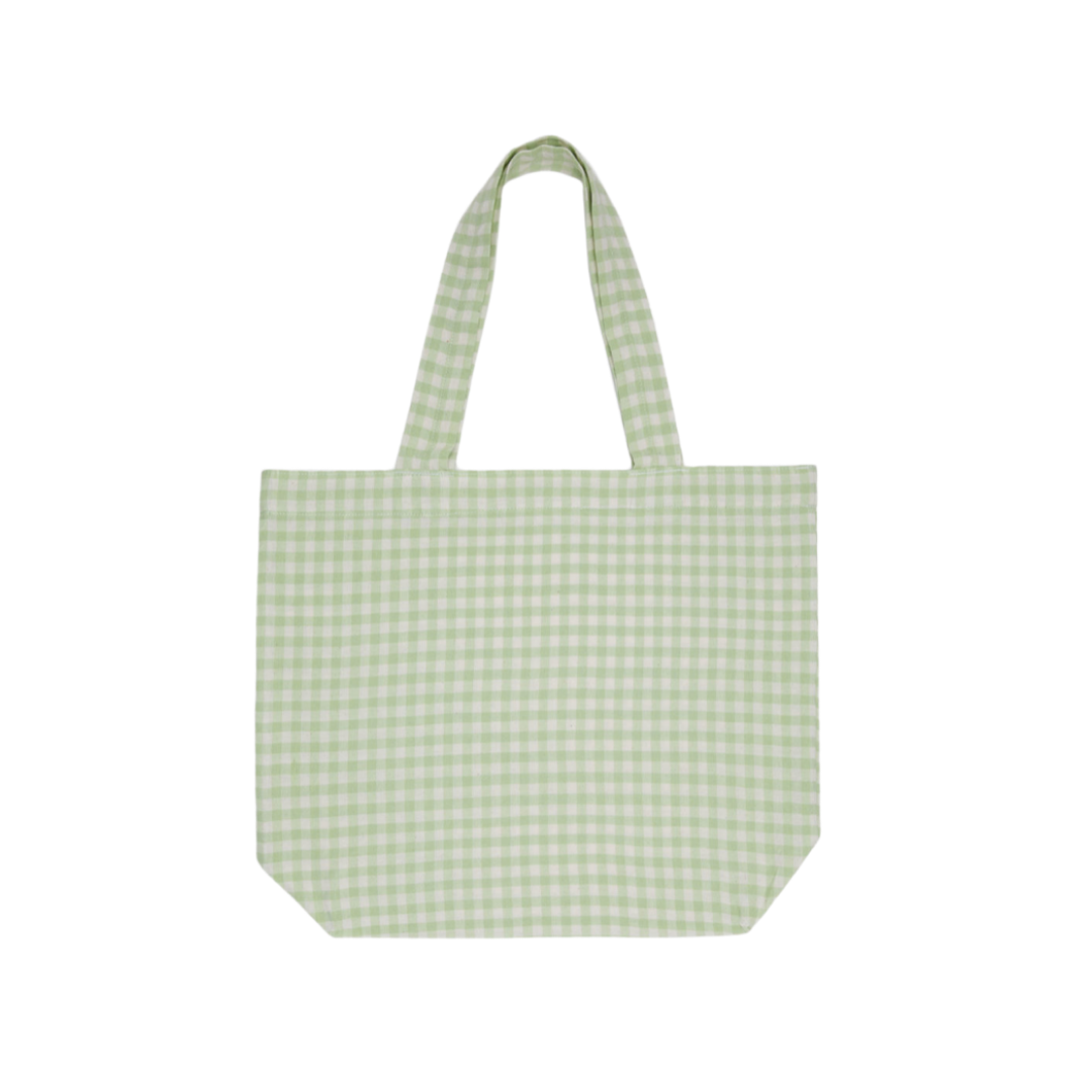Louella Reese Friday Five, green gingham tote bag | Louella Reese