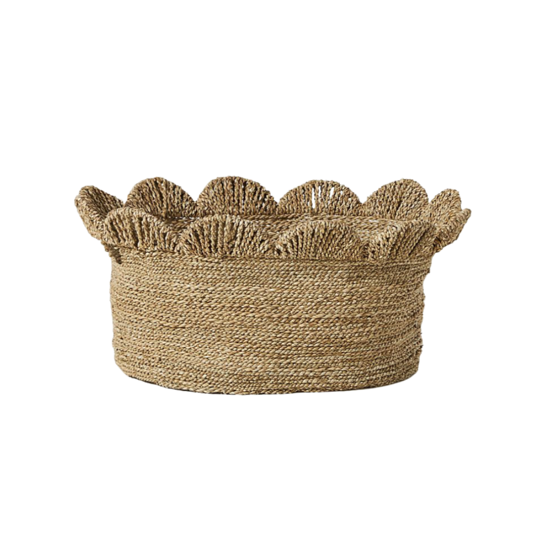 scallop woven basket, storage basket | Louella Reese