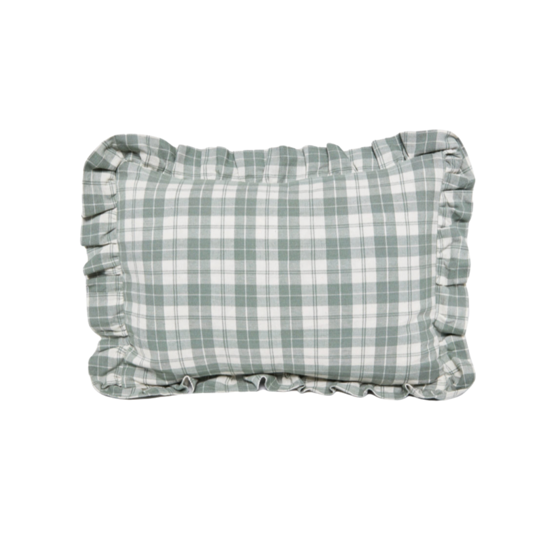sage plaid pillow, lifestyle | Louella Reese