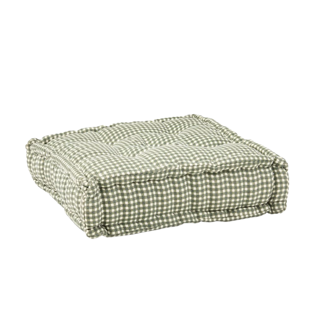 green gingham floor pillow, lifestyle | Louella Reese
