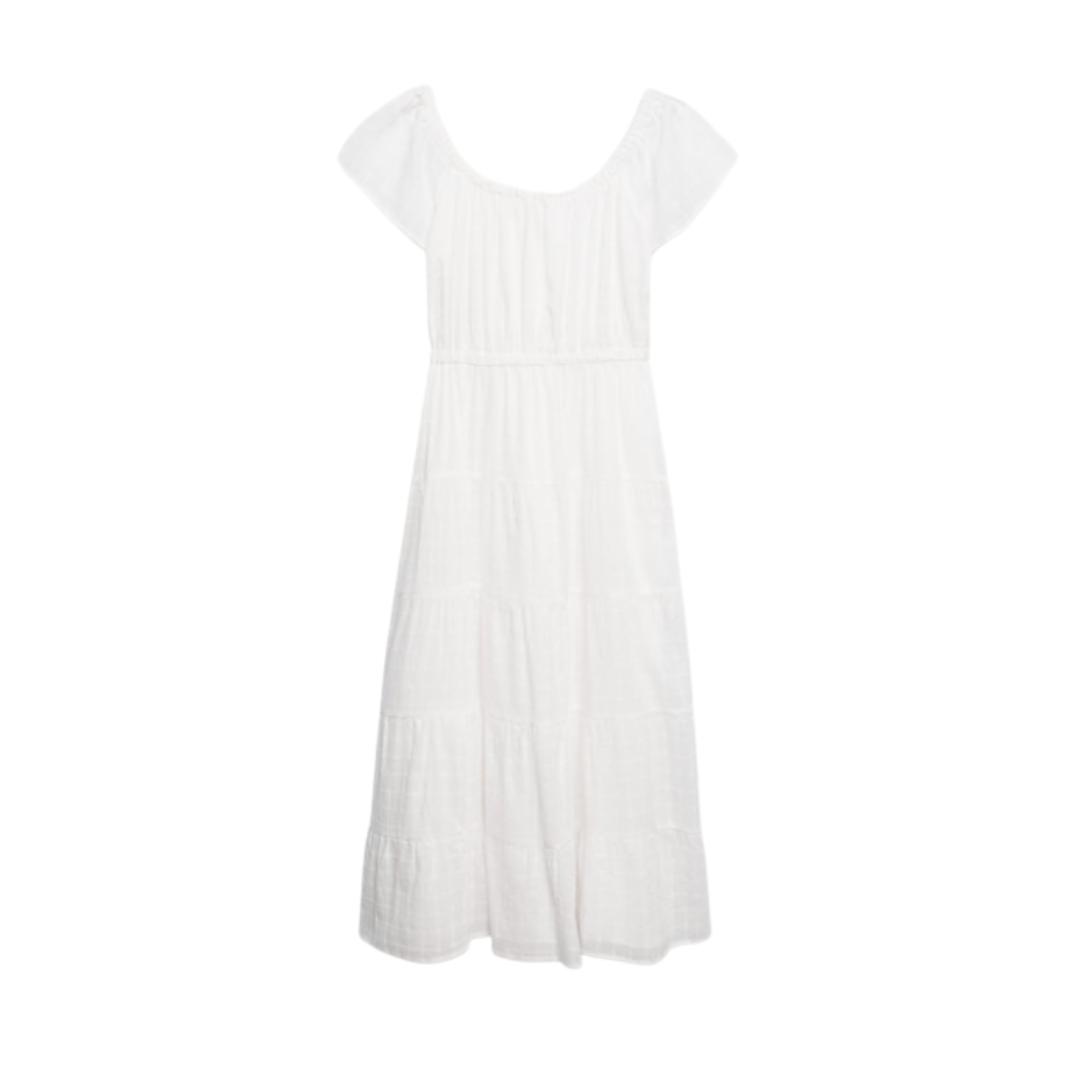white midi dress, summer dress   Louella Reese