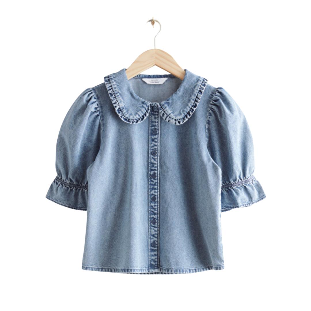 denim babydoll collar top | Louella Reese