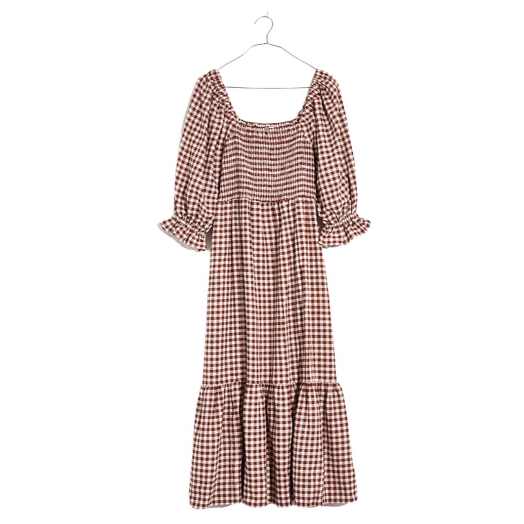 Brown Gingham Nap Dress   Louella Reese