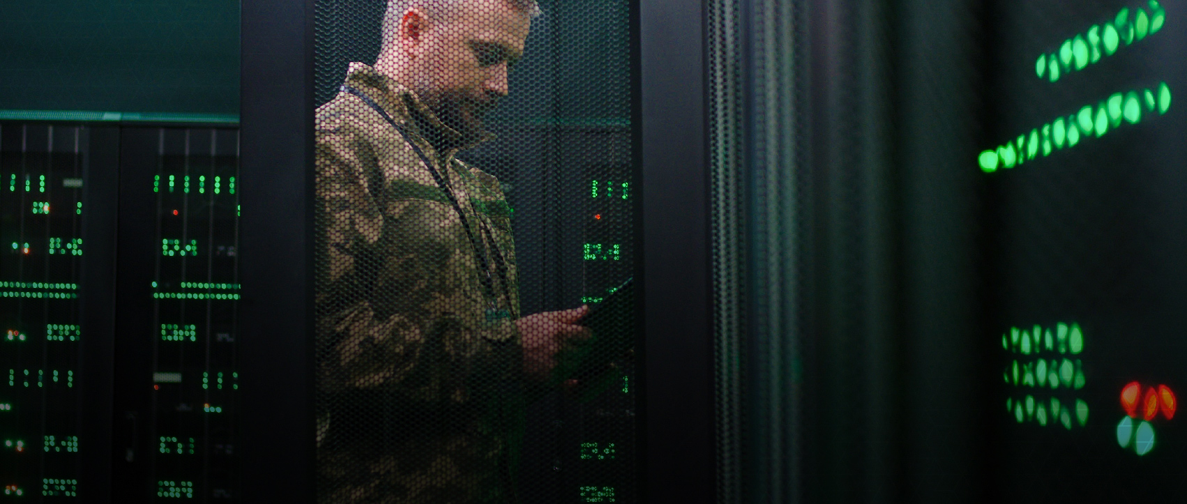 Datacenter With man working on server
