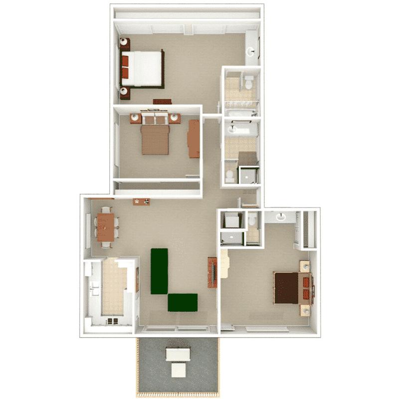 3 Bed, 3 Bath floor plan