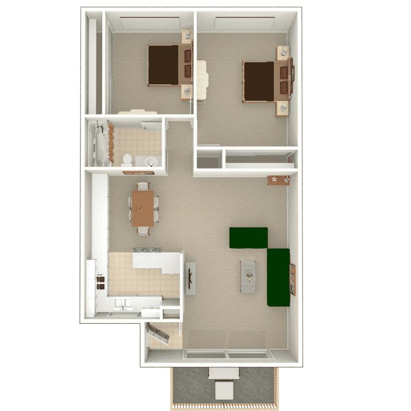 2 Bed, 1 Bath floor plan