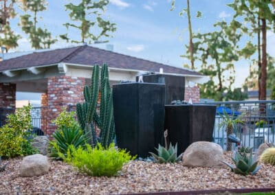 Small fountains and desert landscaping