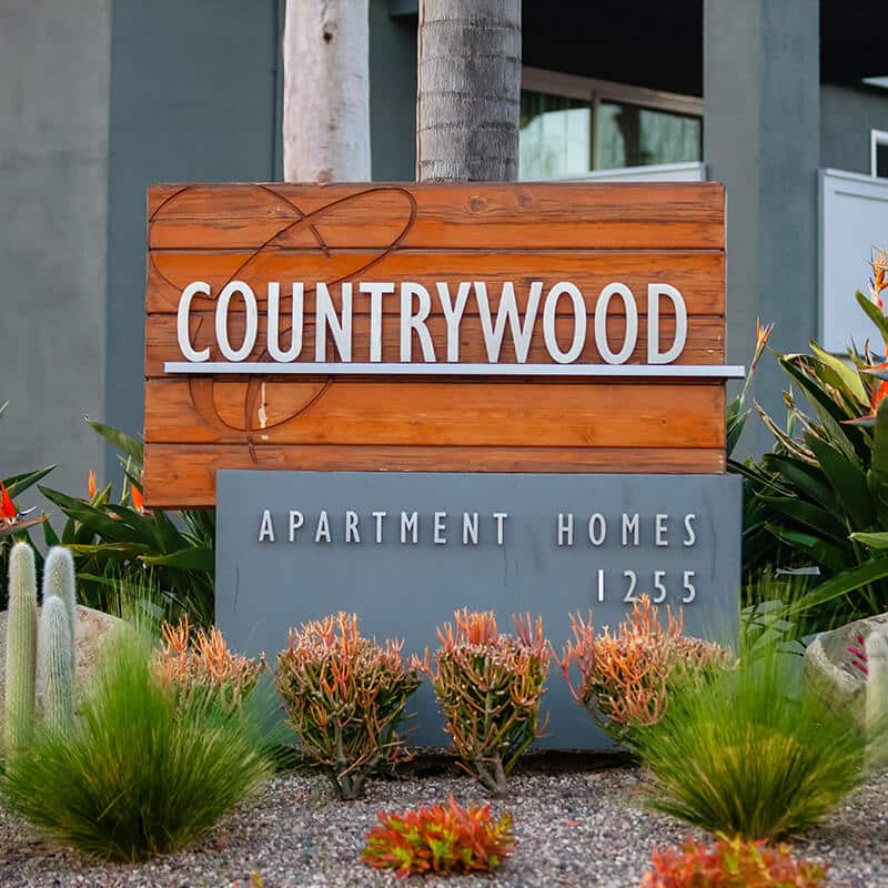Apartments Entrance Sign with landscaping