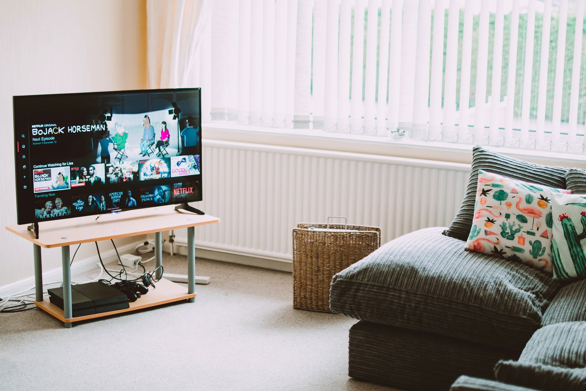 Monitor child's screen time - turned on flat screen smart television ahead