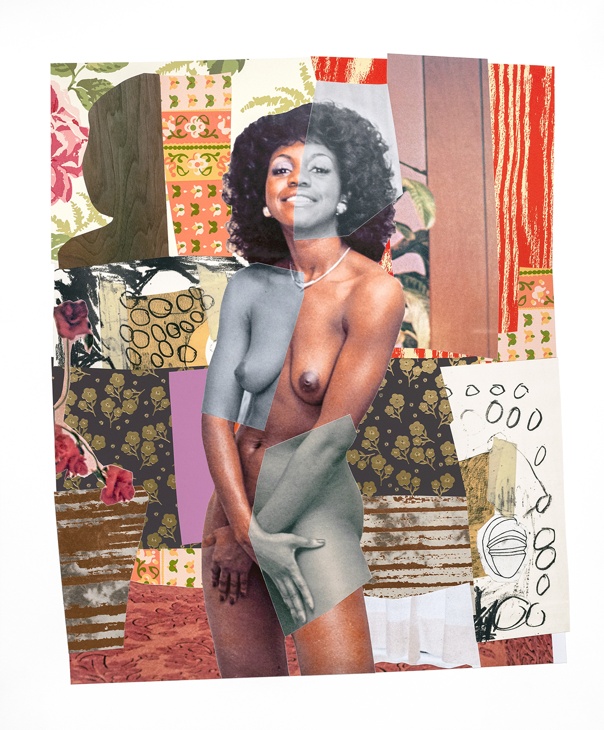 July 1977, Mickalene Thomas. 2019 Relief, screen print, intaglio, wood veneer, archival inkjet, copper and gold foil stamping, chine collé, collage 41 x 34 inches Edition of 25