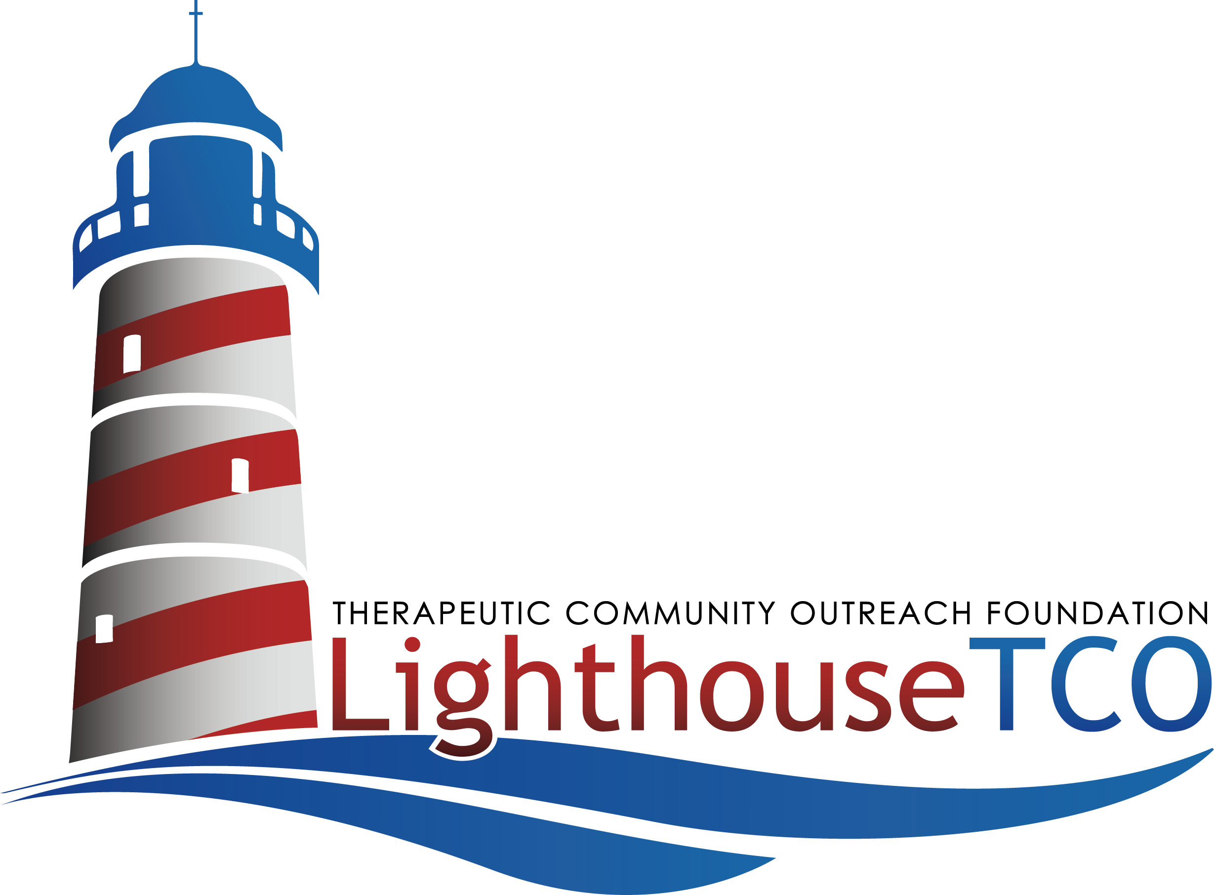 lighthouse image, white with red horizontal stripes and blue top; red and blue lettering