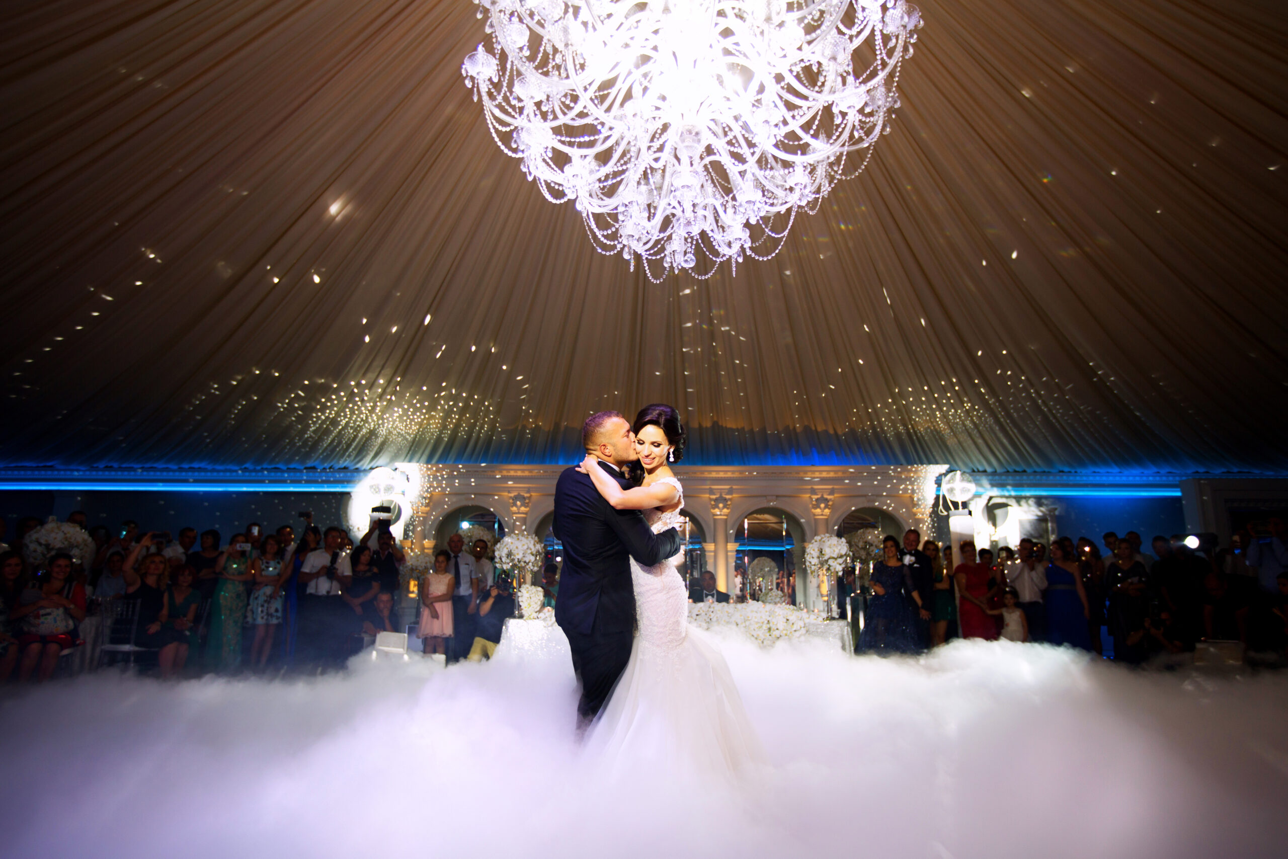 Happy bride and groom and their first dance, wedding in the elegant restaurant