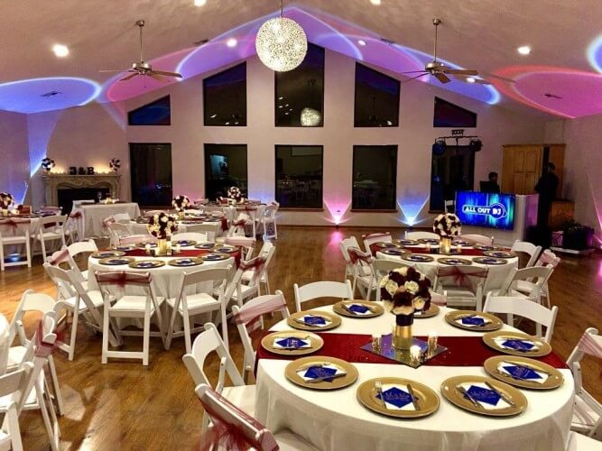 professional lighting at a wedding reception