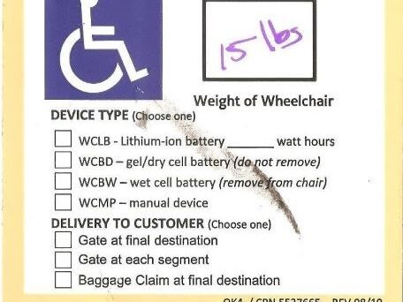 Wheelchair tag showing no transfer information noted.