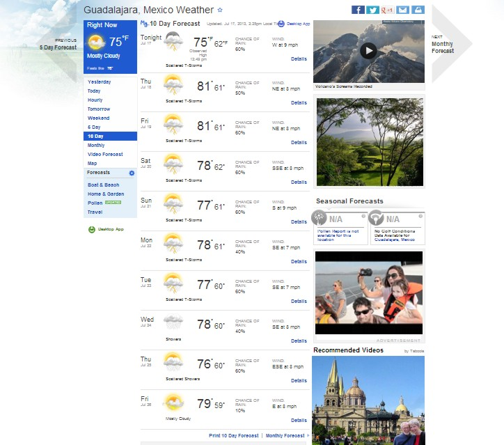 Weather in Guadalajara 10 day forecast
