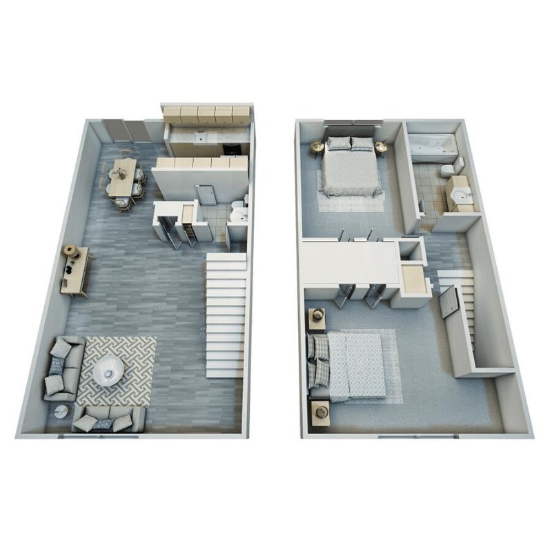2 BED, 1.25 BATH TOWNHOME floor plan