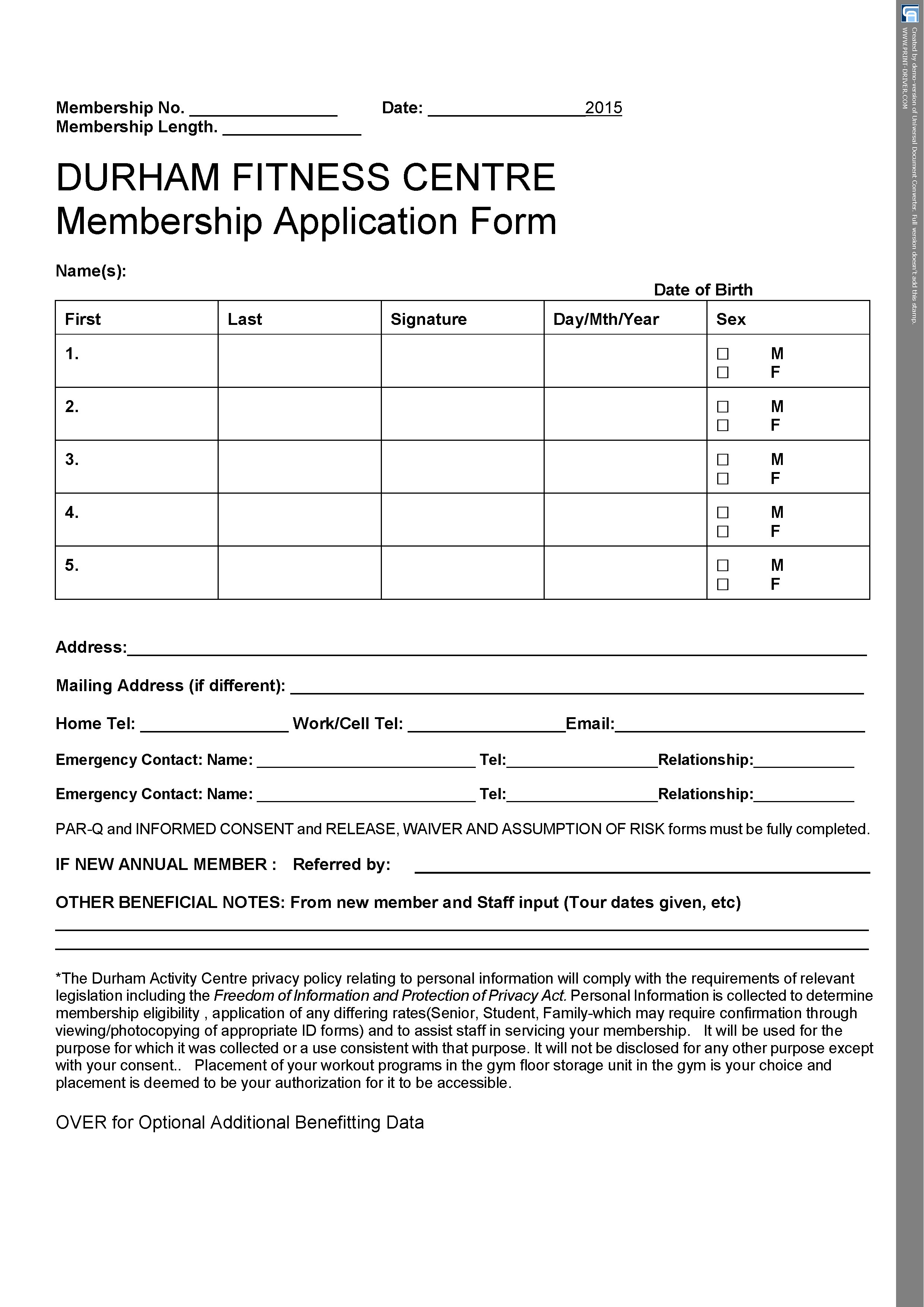 Membership application-waiver 2015