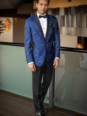 Cobalt Blue Paisley Mark of Distinction Tuxedo