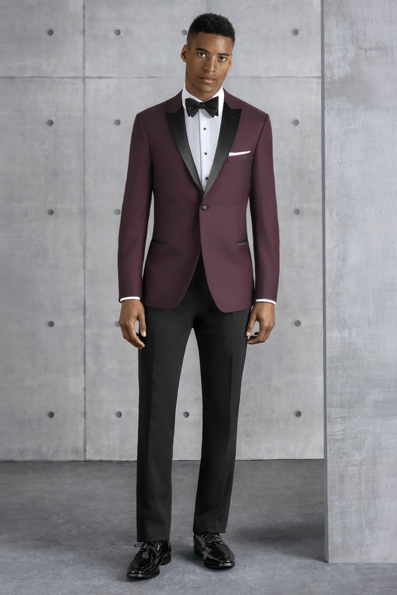 Ultra Slim Burgundy Empire Kenneth Cole Tuxedo