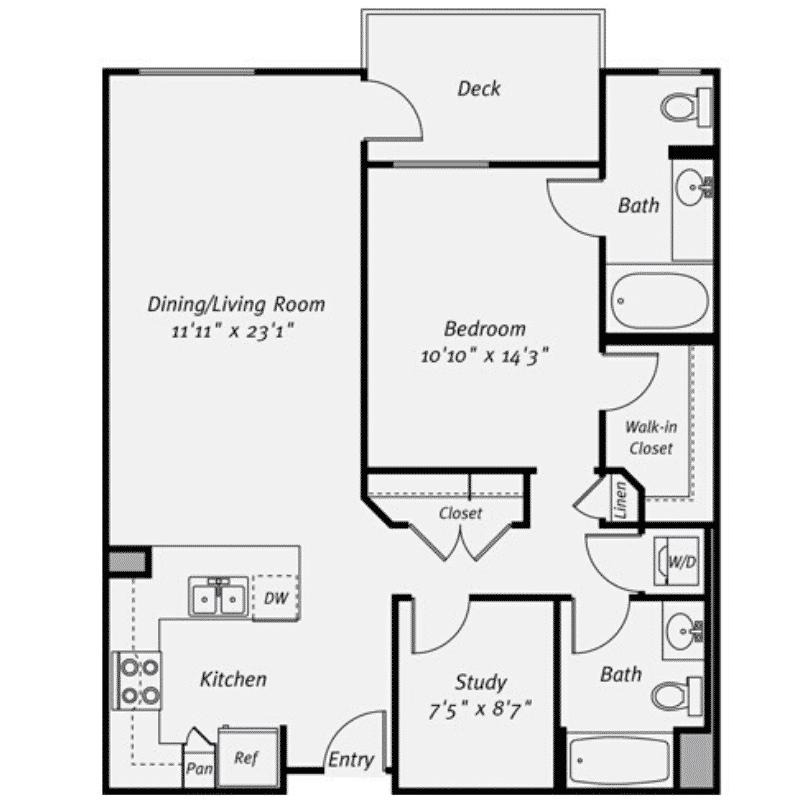 1 bed 2 bath apartment floor plan