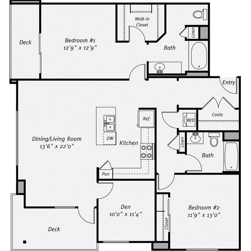 2 bed 2 bath with den apartment floor plan