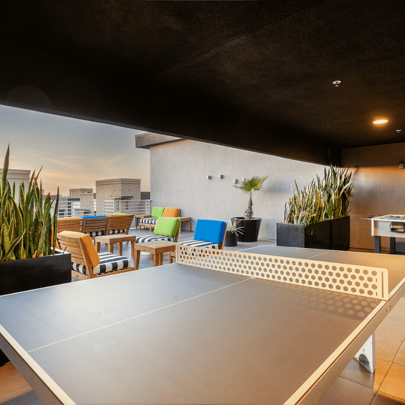 ping pong table on rooftop