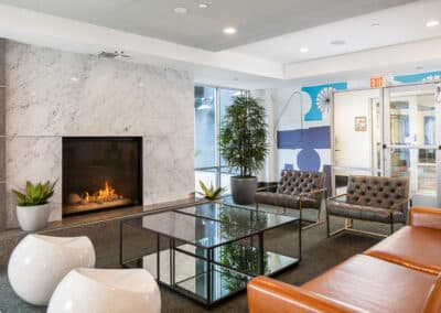 lobby with fireplace and furniture