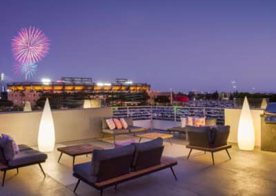 rooftop view of anaheim with fireworks