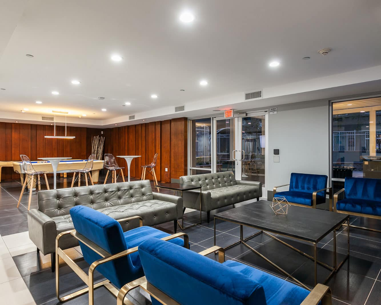 clubhouse with ping pong tables and seating