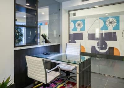 Office space with decor and geometric wallpaper